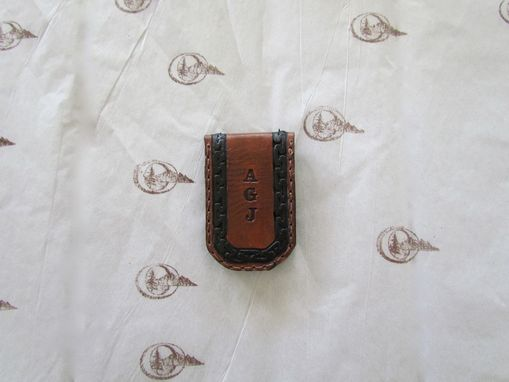 Custom Made Initials Leather Money Clip, Personalized With Your Monogram