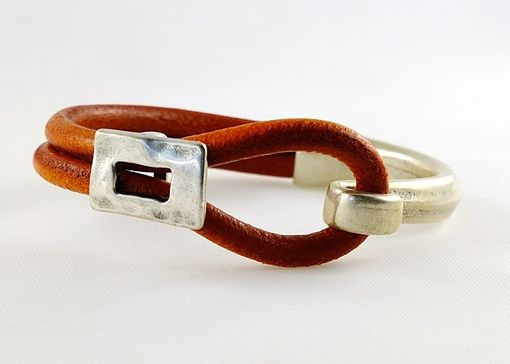 Custom Made Orange Licorice Leather Cuff Half Bracelet With Antiqued Silver Hardware