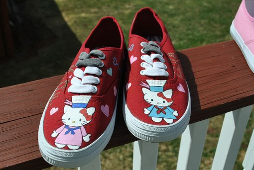 Custom Made Hello Kitty Hand Painted Sneakers Size 5.5 - Sold