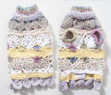 Custom Made Crochet Circle Motifs And Knitting Mix Cotton Yarn Dog Sweater