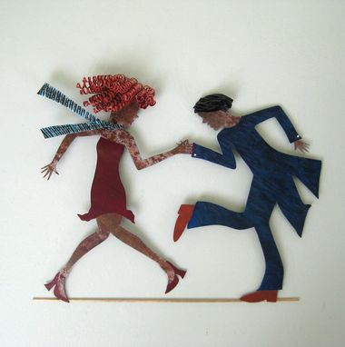 Custom Made Handmade Upcycled Metal Flapper Dancers Wall Art Sculpture