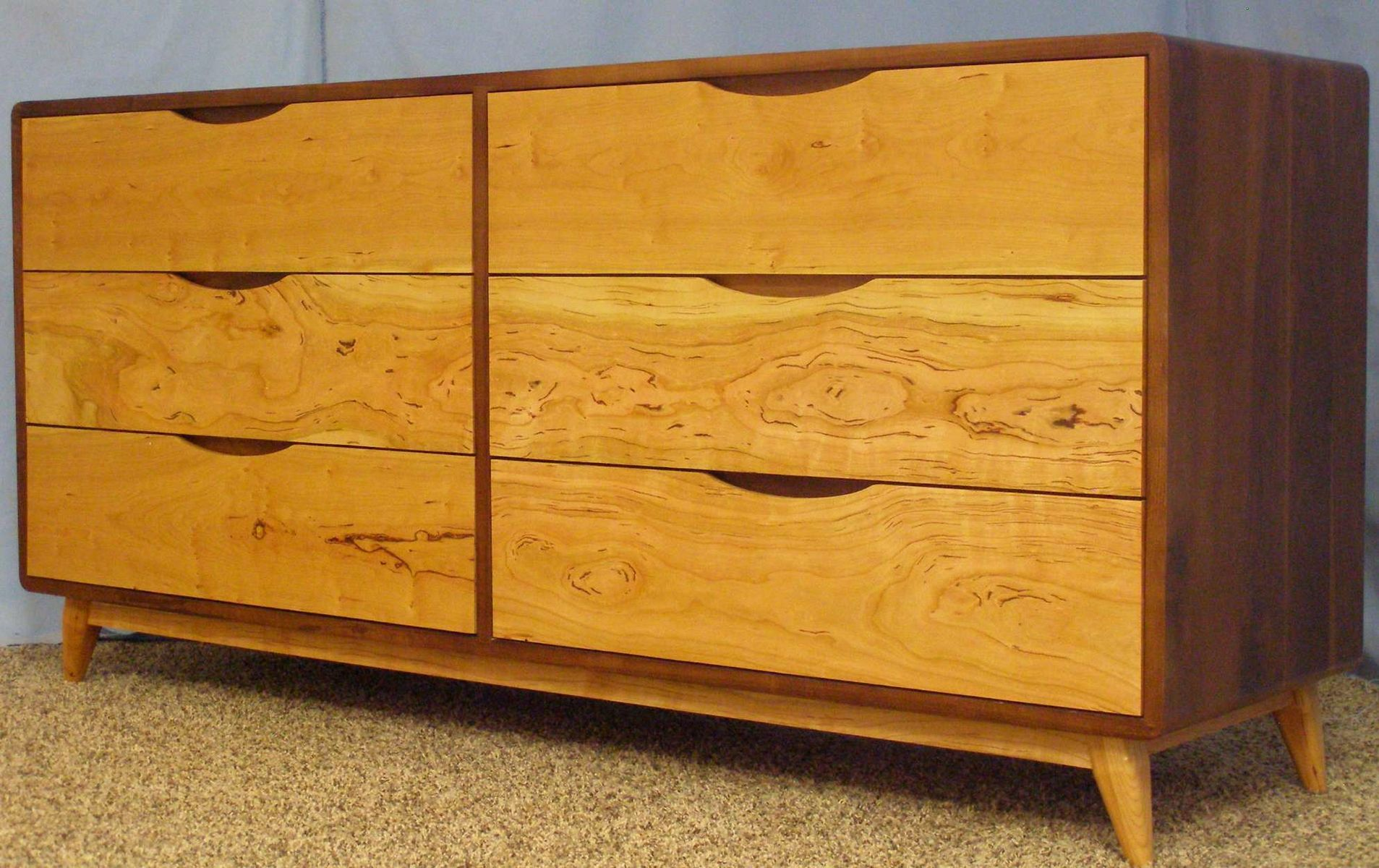 Custom Made Danish Modern 6 Drawer Dresser Built With Sy Walnut And Gummy Cherry Item