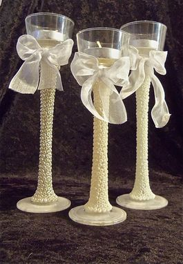 Custom Made Elegant Beaded Candlestick Set