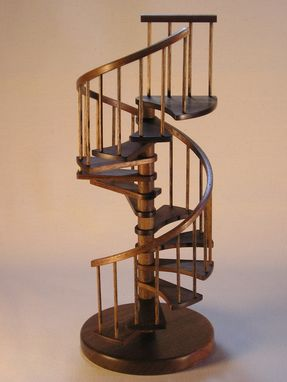 Custom Made 1/12th Scale Miniature Walnut Spiral Staircase.