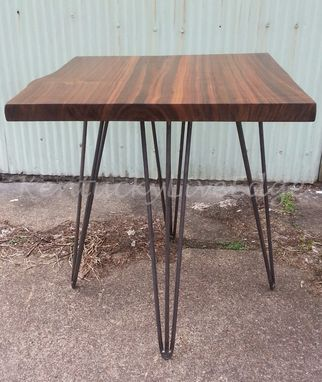Custom Made Walnut End Table, Side Table, Walnut, Steel Legs, Mcm