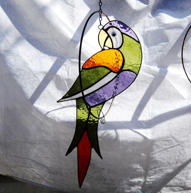 Custom Made Stained Glass Parrot In A Ring Suncatcher Mobile