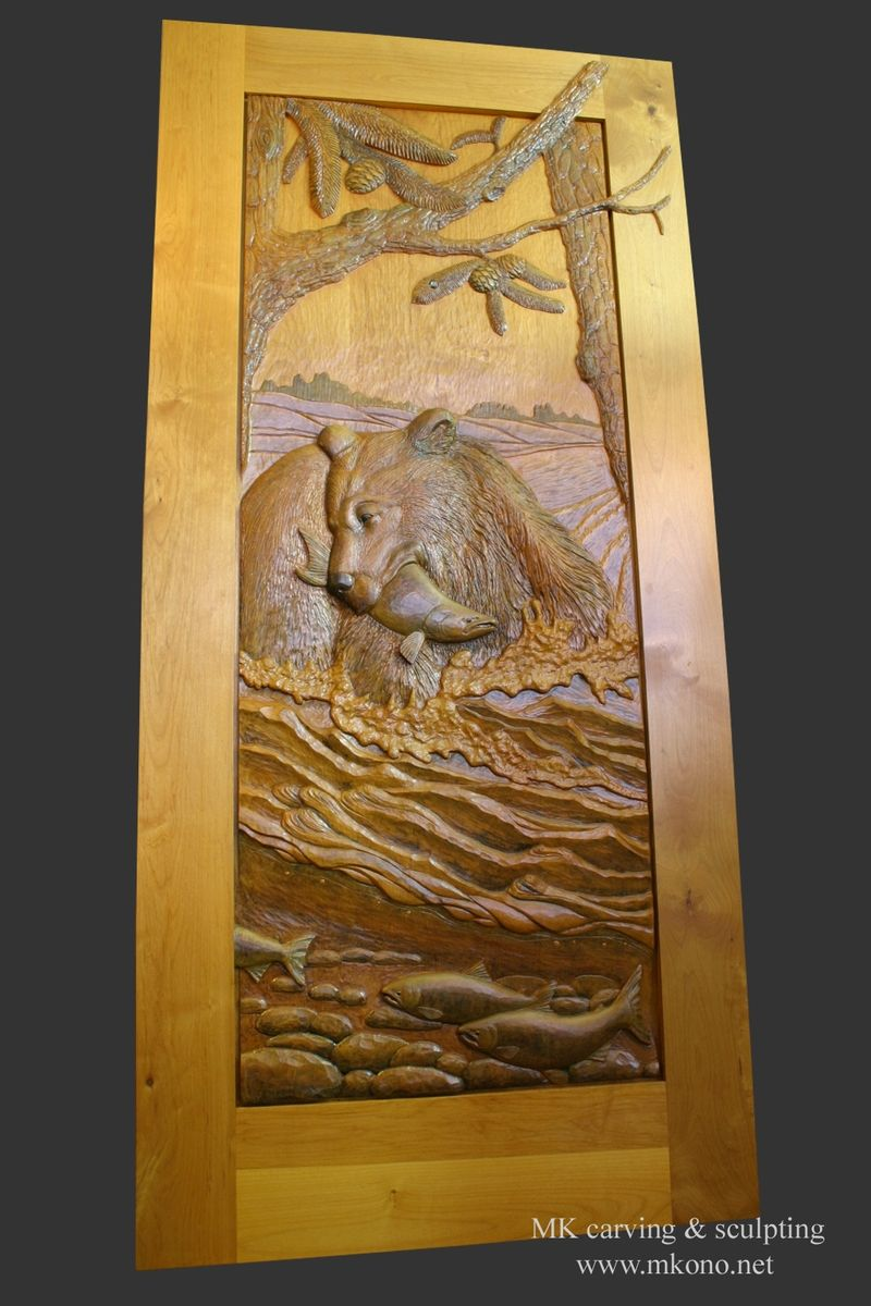 Hand crafted carved door bear in the river by mk carving for Amazing hand carved doors