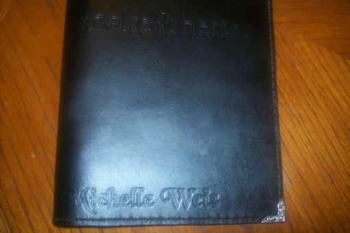 Custom Made Custom Leather Portfolio With Personalization And In Black