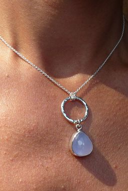 Custom Made Blue Calcedony Drop Handmade Sterling Silver Hammered Circle Pendant