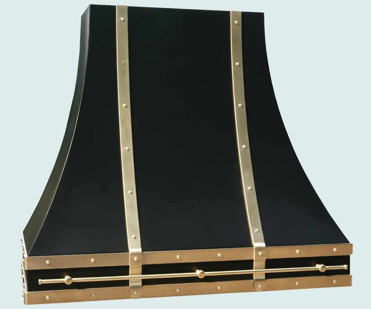 Austin Bedroom Furniture Hand Crafted Black Range Hood With Brass Straps Amp Pot Rail