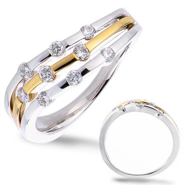 Custom Made White And Yellow Gold Diamond Ring