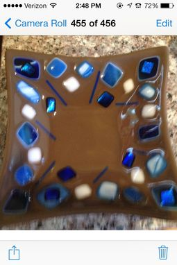 Custom Made Fused Glass Dish In Blues And Brown.