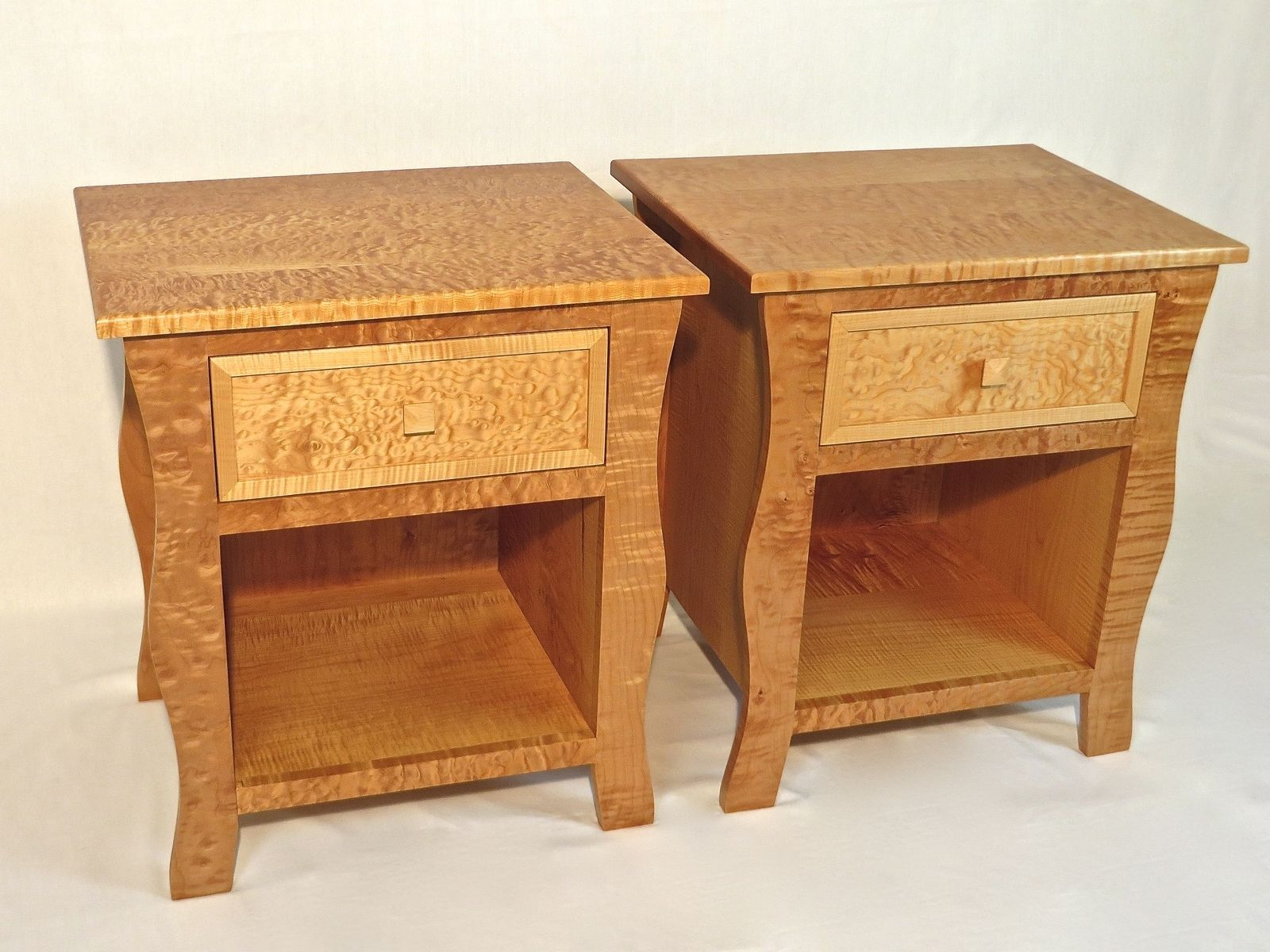 Hand Crafted Nightstands - Pair Of Curly Maple Nightstands by Tenon ...