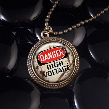 Custom Made Danger High Voltage Antique Bronze Necklace 343-Brn