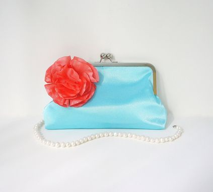 Custom Made Blue Satin Clutch Purse With Coral Satin Flower Accent