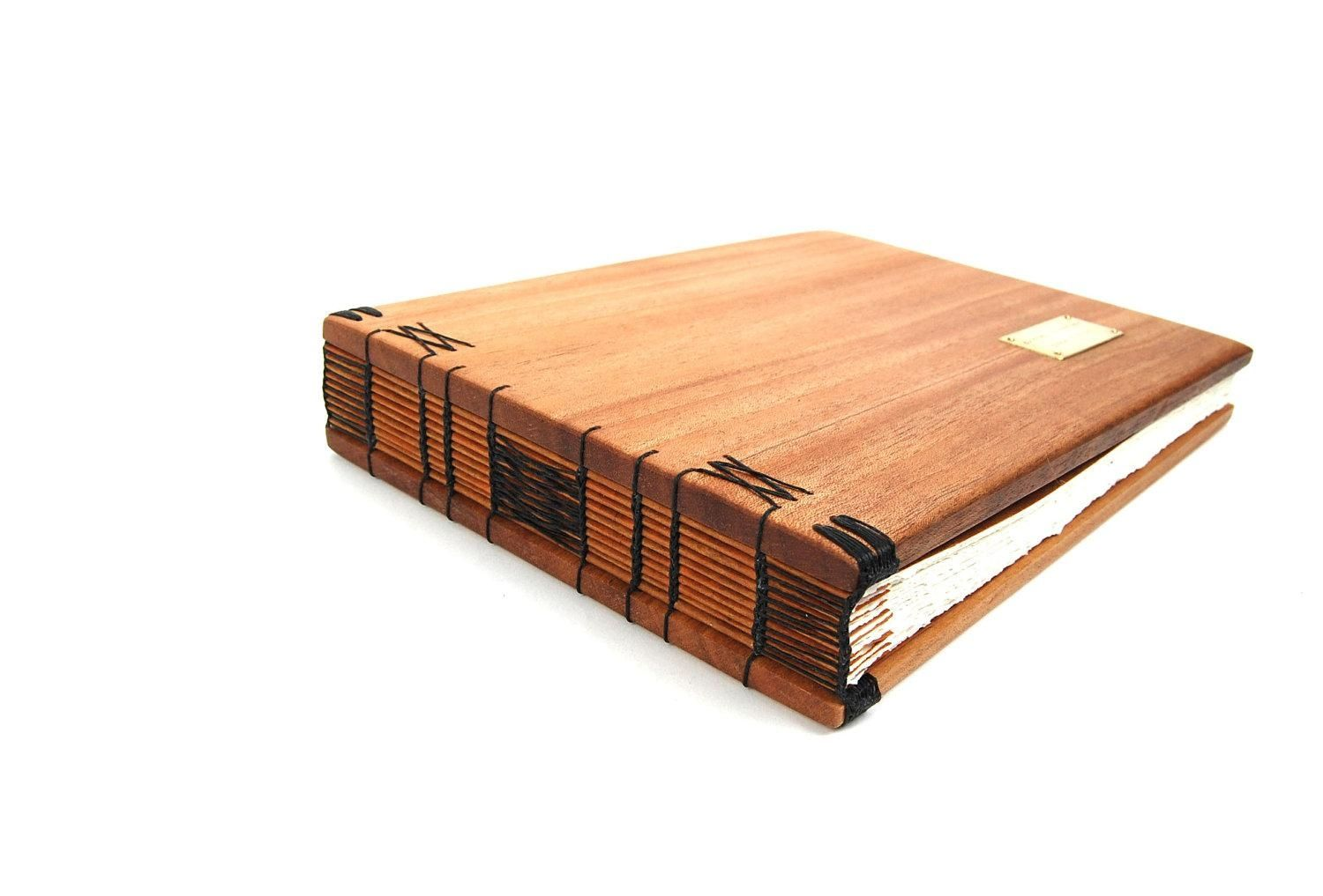 Wood Covered Book : Hand crafted unique guest book with wood covers custom