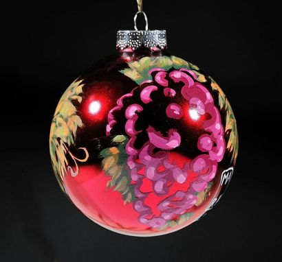 Custom Made Hand Painted Merlot Christmas Ornament For Wine Lovers