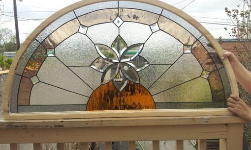 "Custom Made Stained Glass Arched Window - ""Beveled Flower"" (Tw-34)"