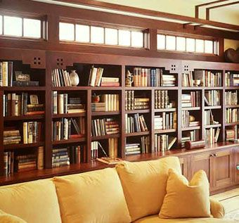 Custom Made Arts & Crafts Library Built-In