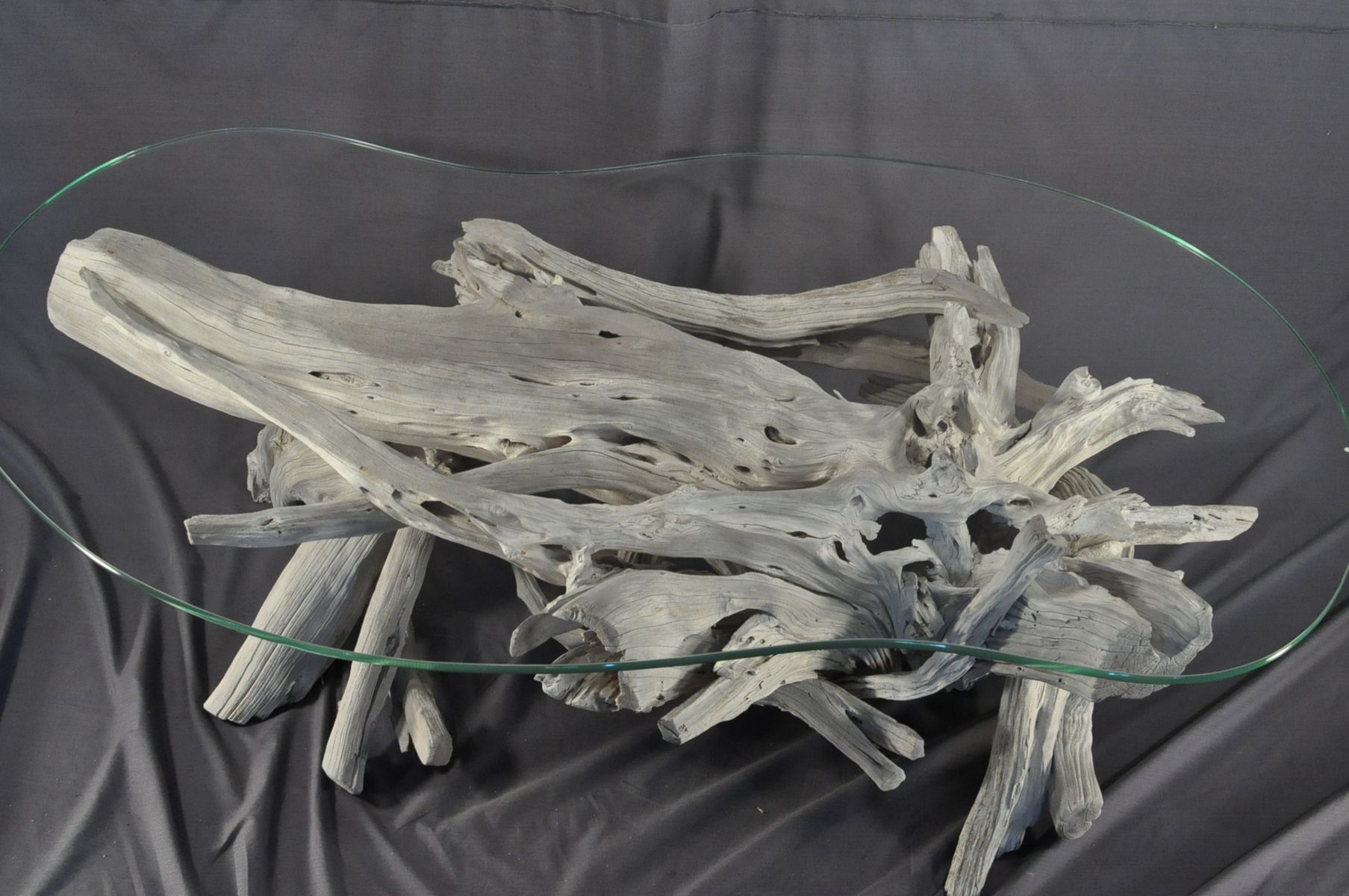 Hand Crafted Sun Bleached Driftwood And Glass Coffee Table by