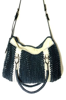 Custom Made Leather Waves Satchel / Woven Leather Handbag In A Classic Style