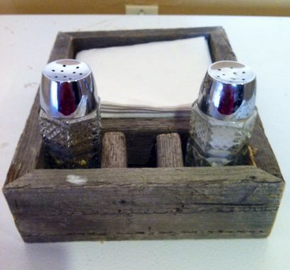 Custom Made Reclaimed Barn Wood Napkin And Salt And Pepper Holder