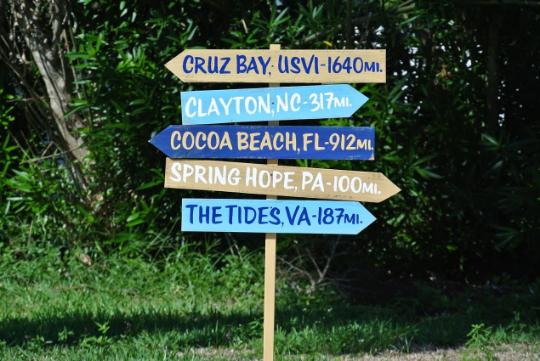 Handmade Mileage Destination Sign Post. Housewarming Gift