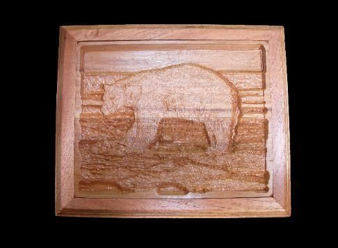 "Custom Made 3d Wall Art ""Polar Bear Carving"""
