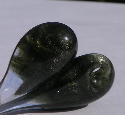 Custom Made Sparkly Green Glass Heart Pendant