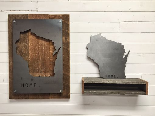 Custom Made Custom - Your Home State Steel On Reclaimed Wood Wall Decor