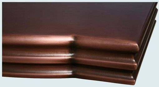 Custom Made Copper Countertop With Curved Front & French Edge