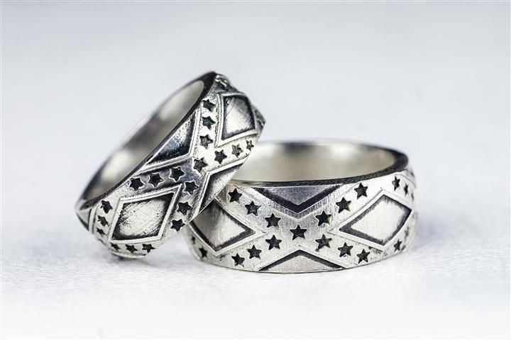 Custom Made Southern Pride Stars And Bars Wedding Band Set