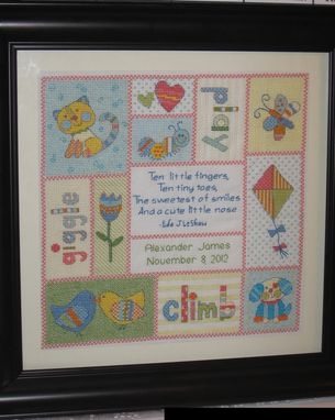 Custom Made Thirteen-Panel Cross-Stitch Birth Announcement