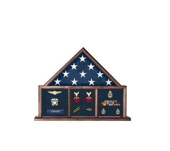 Custom Made Flag And Medal Display Case, Shadow Box, Combination Flag/Medal