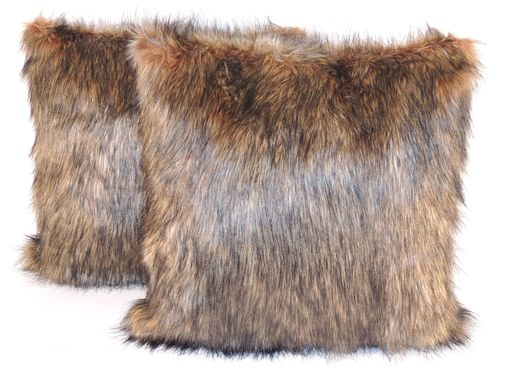 Custom Made Wolf Brown Black Faux Fur 18 X 18 In. Decorative Pillow - Set Of 2