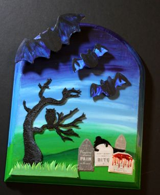 Custom Made Gothic Vampire Halloween Graveyard Flying Bats Mixed Media Art Wall Decor