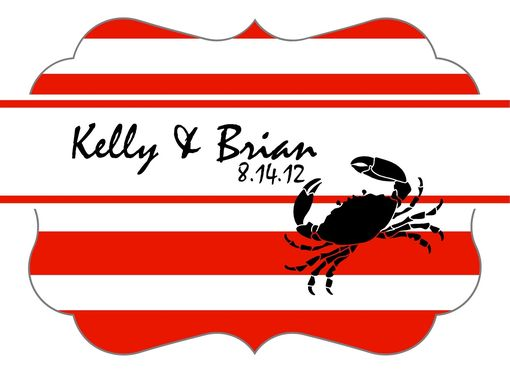Custom Made Custom Wedding Stickers - Crab And Stripe Nautical - Guest Bag Labels