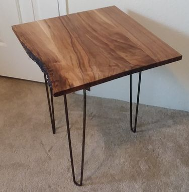 Custom Made Live Edge Walnut End Table