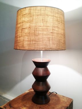 Custom Made Wooden Lamp With Burlap Shade