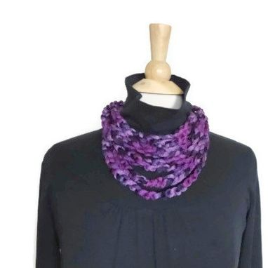 Custom Made Lightweight Cowl Necklace Infinity Scarf Dark Purple Light Purple Plum