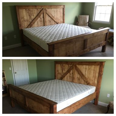 Custom Made Rustic King Size Farmhouse Bed W/ Platform