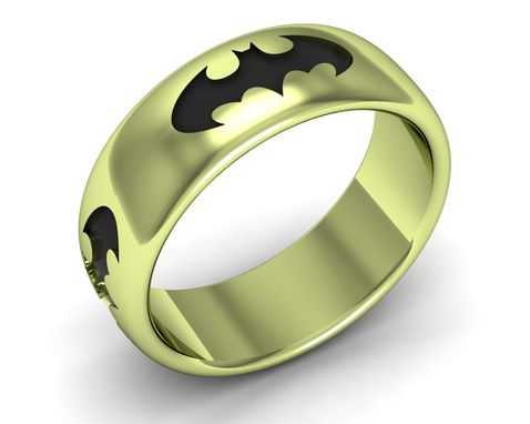 Custom Made Batman Band Antiqued In 14k Gold Colors