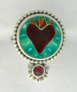 Custom Made Flaming Sacred Heart Ring, Flaming Heart Cloisonne Enamel Ring