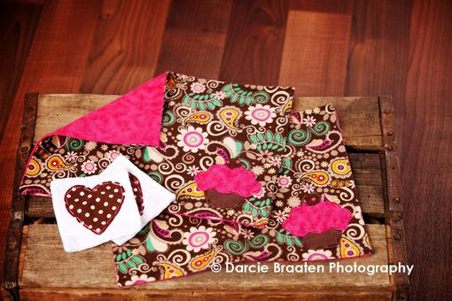 "Custom Made Soft Flannel Placemats And Table Napkins ""Brownie Bliss''"