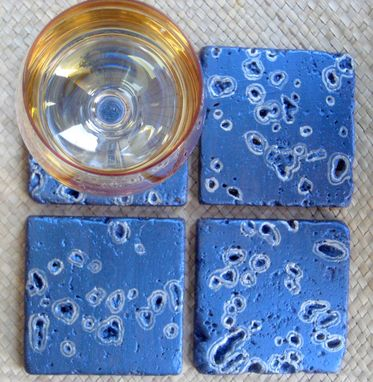 Custom Made Coasters Handmade Handpainted-Set Of 4 Metallic Blue Purple Silver