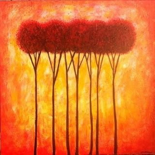 "Custom Made ""Red Trees"" (Painting) By Chip Ghigna"