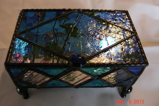Custom Made Jewelry Box In Colbalt Blue And Confetti Diamond Accents With Decorative Feet Stained Glass