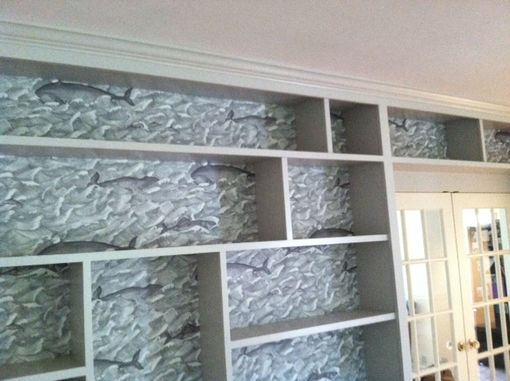 Custom Made Painted Bookcase, Library Wall Unit
