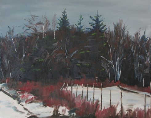 "Custom Made Fournier Original Canadian Landscape Oil Painting, ""By The Woods"" 24""X30"""