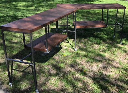 Custom Made Century Old Reclaimed Douglas Fir Barn Beams And Steel Console Tables